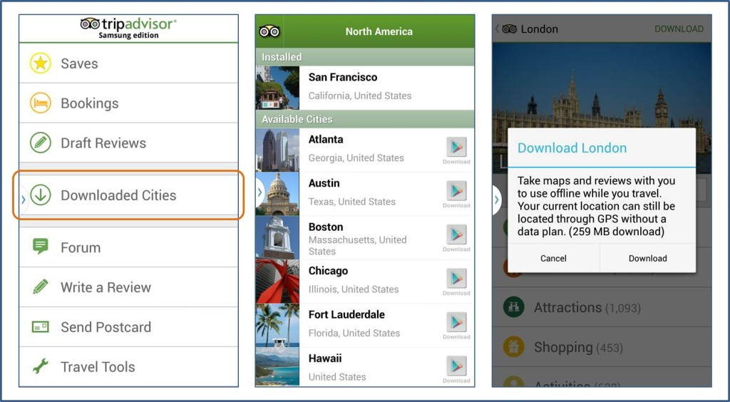 Trip Advisor Downloaded Cities screen captures