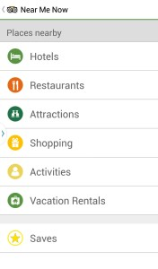 Screen capture of Trip Advisor New Me Now menu