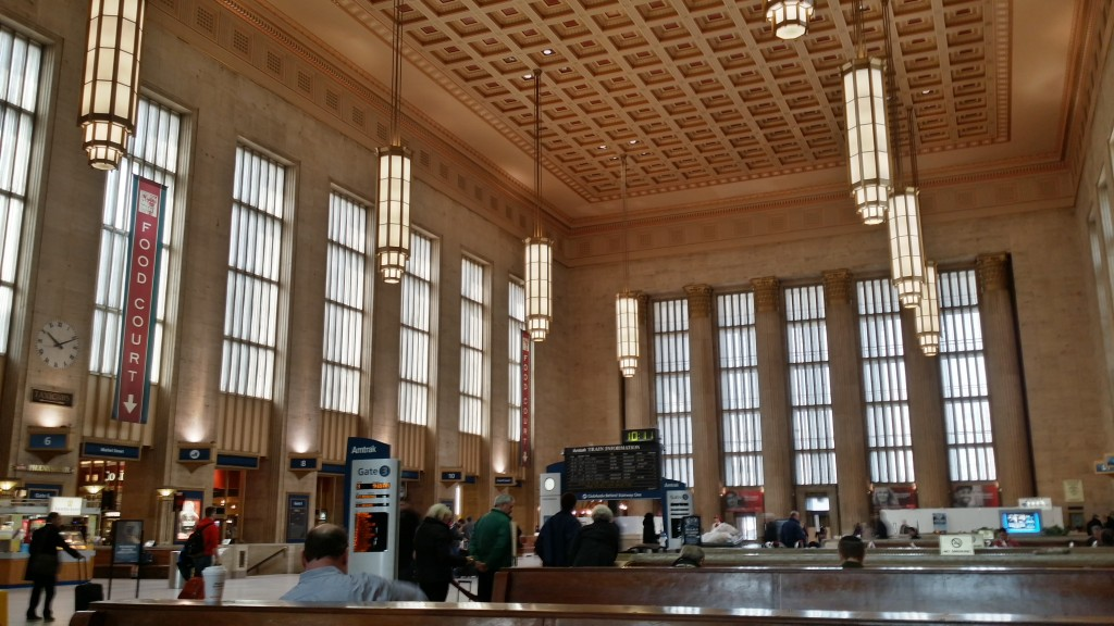 Philadelphia's 30th Street Station maintains much of its original 1930s design and appeal, with modern touches (food court, charging station) for today's travelers.