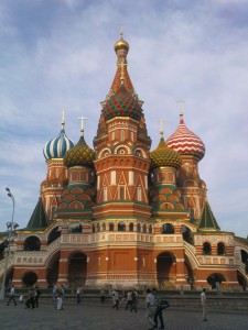 Photo of St. Basil's Cathedral as seen from the west.