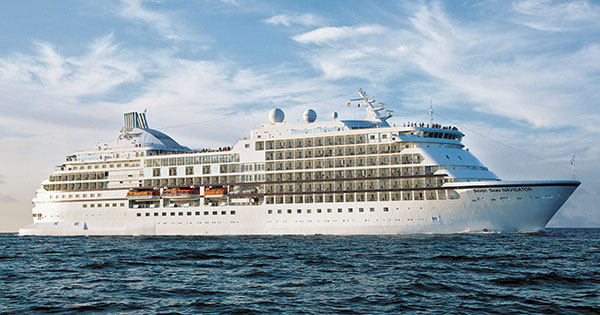 The Regent Seven Seas Navigator embarks on an around-the-world luxury cruise