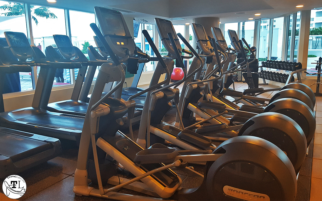 An army of treadmills, ellipticals, and freeweights with a view of the pool.