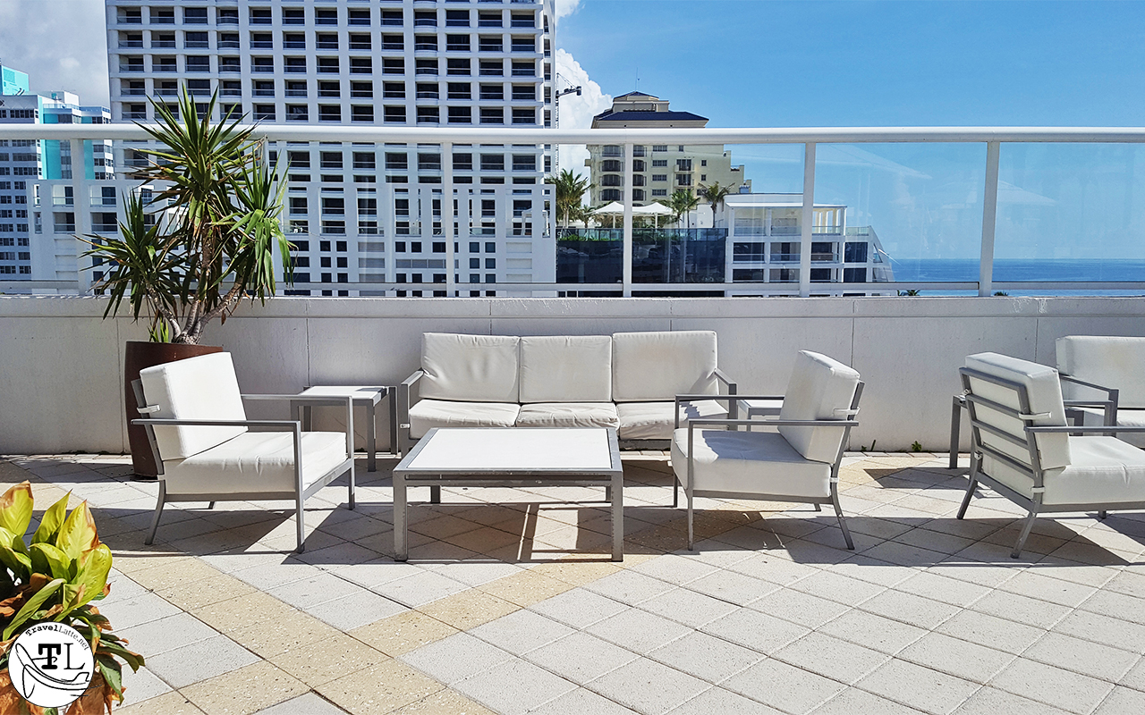 Outdoor seating on the pool deck.